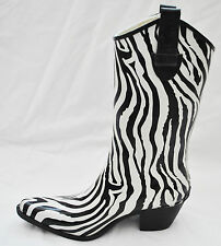 Corkys Black White Zebra Cowgirl All Weather Water Resistant Mud Rain Boots 6/36