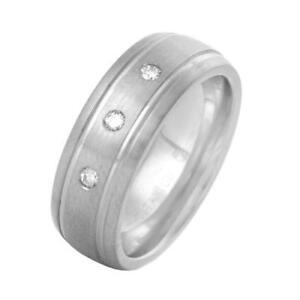 Attractive Men's Band Ring With Genuine Clean Diamond /Titanium