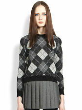 SAINT LAURENT GREY CHAIN ARGYLE PATTERN JUMPER SWEATER SMALL
