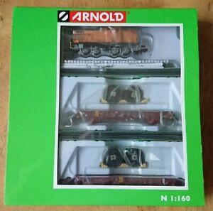 Hornby Arnold N Gauge HN2301 3 piece Train Set Diesel Shunter & 2 Flat Wagon DCC