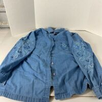 Passion-I Womens Denim Button Front Shirt Blue Floral Embroidered Pocket L