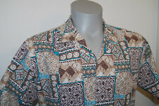 Rai Nani Hawaiian shirt XL Aloha cotton L floral camp tan brown teal abstract