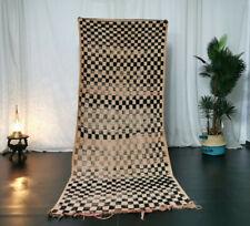 Vintage Moroccan Handmade Rug 3'4x8'9 Berber Checkered Faded Red Black Wool Rug