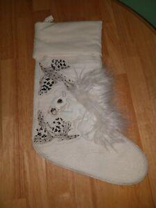 Pottery Barn Woodland Squirrel Christmas Stocking Ivory Furry Beads NO MONOGRAM