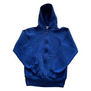 VTG 90s Russell Athletics Blue USA Made Full Zip Hoodie Sweatshirt Men's Medium