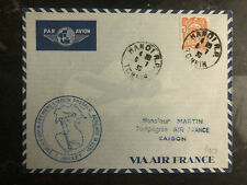 1939 Hanoi Laos Saigon Vietnam First Flight Cover via Air France FFC 150 Flown