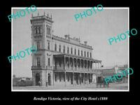 OLD POSTCARD SIZE PHOTO OF BENDIGO VICTORIA VIEW OF THE CITY HOTEL c1880