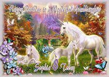 Personalised birthday card daughter granddaughter sister unicorn