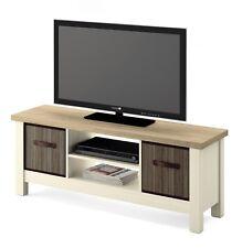 Mesa de televisión Artik Cambrian y Pino con dos cestas bambú 130x51x41