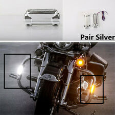 2X Chrome Motorcycle Highway Bar Switchback Driving Light LED For Crash Bar