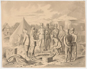 """Prince Victor Odescalchi """"In Military Camp"""", drawing, mid 19th century"""