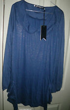 Designer 12 Something Else Natalie Wood Blue Gold Fleck Soft Pocket Hem Dress