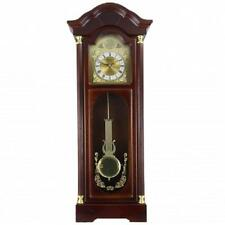 "NEW*BEDFORD 33"" CHERRY OAK Finish*Grandfather WALL CLOCK*with PENDULUM & 4 CHIME"