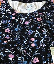 NEW Women's Croft & Barrow Classic Tee Shirt Top Pink Floral on Navy sz 2X