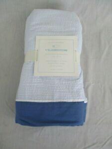 "Pottery Barn Kids Nantucket Seersucker Crib Skirt 16"" Drop Blue White Stripe NWT"
