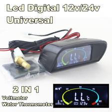 2in1 Funtions LCD Digital 12V/24V Car Truck Water Temp Meter Gauge and Voltmeter