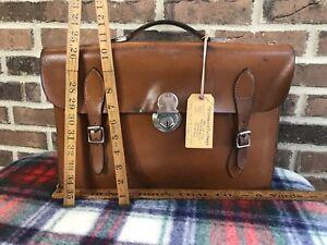 RARE CLEAN VINTAGE 1940's BRITISH SADDLE LEATHER BRIEFCASE MESSENGER BAG R$1398