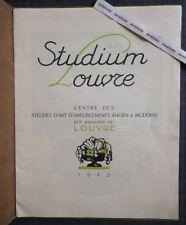 Rare Catalogue STUDIUM LOUVRE 1923 AMEUBLEMENT MODERNE & ANCIEN Art Déco Objets