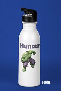 Kids Boys Personalised Hulk Water Drink Bottle Super Heroes Birthday Christmas