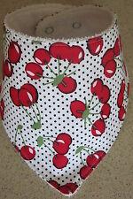 Handmade Bandana bib- Cherries on spotty backgound
