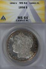 1898  $1 ANACS  MS 64 CAMEO PL  Morgan Silver Dollar, Miss Liberty Head Dollar,