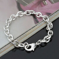 Women's 925 Sterling Silver Link Chain Bangle Wristband Bracelet Lobster Clasp