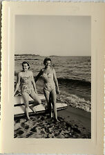 PHOTO ANCIENNE - VINTAGE SNAPSHOT - FEMME PIN UP MAILLOT BAIN SEXY ST RAPHAEL