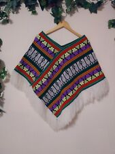 Native American Aztec Poncho Fringe Knit Colorful Unbranded Women's One Size