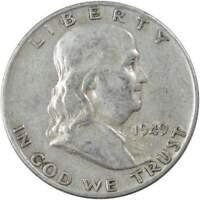 1949 D 50c Franklin Silver Half Dollar US Coin Average Circulated
