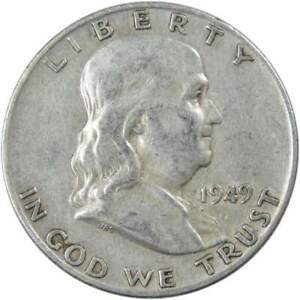 1949 D Franklin Half Dollar AG About Good 90% Silver 50c US Coin Collectible