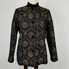 Laura Ashley Womens Jacket Coat Black Copper Brown Floral Holiday Size Small New