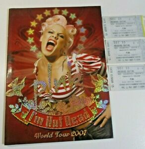 PINK I'm Not Dead 2007 World Tour Souvenir Book with 3 Sydney Concert Tickets
