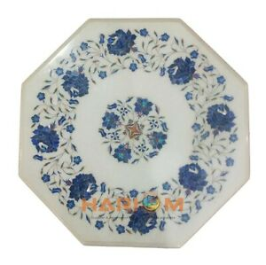 """14"""" White Marble Top Coffee Table Lapis Mosiac Floral Inlay Bedroom Decors W336"""