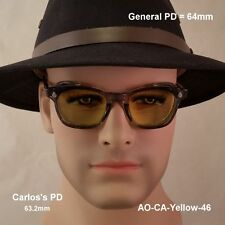 American Optical Antique NOS safety glasses w/ Dk. Yellow Shades - 46 Medium