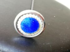 Vintage jewellery silver and blue enamel hatpin 6 inches  hat pin