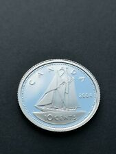 ***  CANADA 10  CENTS  2004 *** PROOF  HEAVY  CAMEO  *** STERLING  SILVER ***