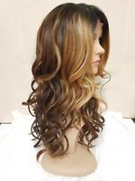 Blonde Brown Auburn front lace human hair wavy full wig brunette mix