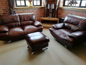 Harveys Islington 3 Pc Suite (Sofa, Chair & Footstool) in Brown Leather / Chrome