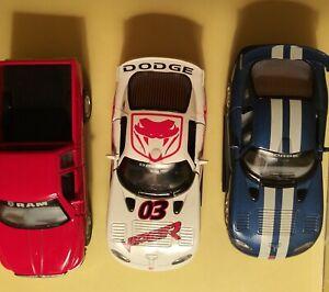 KINSMART (3) White Dodge Viper GTSR~Blue Dodge Viper~Red Dodge Ram 1500 V8