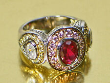 Sterling Silver Garnet & Cubic Zirconia Cocktail Ring Size 7.5
