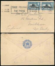 CEYLON 1939 SLOGAN CANCEL TELEPHONE to DERBY...GRAND ORIENTAL HOTEL ELEPHANT ENV