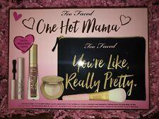 NIB Too Faced One Hot Mama Makeup Set Mascara Lipstick Highlighter Bag Brush New