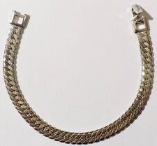 bracelet bijou vintage signé MONET maille plate couleur argent 534