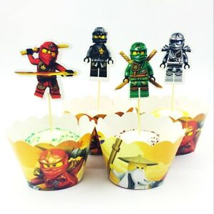 24 Pcs Ninjago Cupcake Wrappers and Toppers Birthday Party