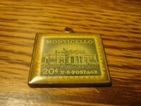 Vintage Solid Brass .20 CENT Encased U.S. Postage Stamp MONTICELLO / T.Jefferson