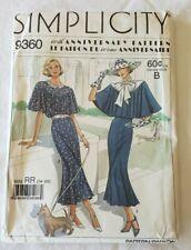 Simplicity 60th Anniversary Pattern 1930's Style Dress & Cape Size 14-20 Uncut