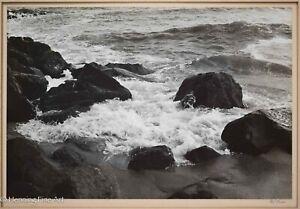 Beautiful Vintage/Antique Silver Gelatin Photograph Rocky Coast Illegibly Signed
