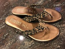 Italian Shoemakers Sandals Leopard Print Wedge Size 9 Runs Narrow