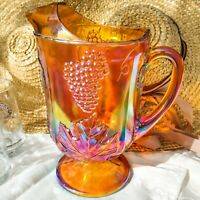 "Vintage Indiana Glass Harvest Grape Amber Gold Carnival Glass Pitcher 10.5"" USA"