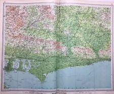 West Sussex, 1939 Vintage Road Map, Bartholomew, England, Atlas